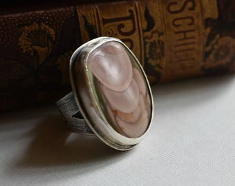 Rose Royal Imperial Jasper Tree Ring - Cabochon Statement Ring - Size 9