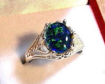 10x8 Australian Opal Ring, Australian Opal Triplet Ring, Opal Filigree Ring 925 Solid Sterling Silver Size 7