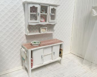 Shabby Chic Dollhouse Kitchen Cabinets set - Free Shipping to the US