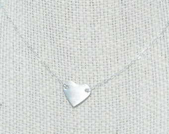 Silver heart necklace on sterling silver chain
