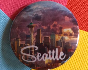Seattle Travel Pinback Button, Seattle Washington Pin, Seattle Keychain,  Seattle Magnet, Pacific Northwest, Seattle Keychain, Space Needle
