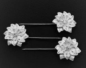 Hair pins (3 pieces) diamond in silver embroidery flower