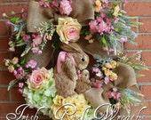 Pink & Yellow Cherry Blossom Spring Bunny Rabbits Wreath, Nursery, Easter Floral Wreath, hydrangea, Rose, Burlap, Cottage Garden Wreath