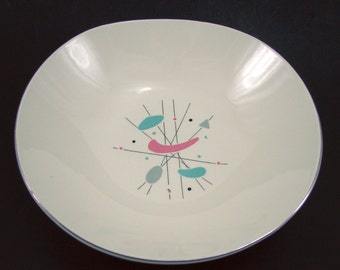 Knowles Mobile Serving Bowl, Edwin Knowles Atomic Pattern #K5069, Pink Turquoise Grey Boomerang