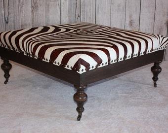 Rustic Dark Kona Brown Zebra Hide Print Cowhide Ottoman