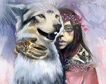 Kindred Spirits - small canvas print, wall art, ready to hang, spirit animal, third eye, phresha, magic dog, wolf, gift ideas