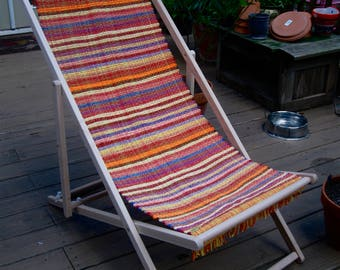 Folding Patio Chair Rag Rug Fabric Seat Handwoven in Nicaragua