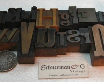 26 piece collage of beautiful vintage wood type A-Z. Beautiful old wood type!