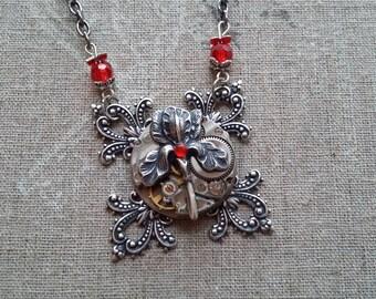 Steampunk rose pendant necklace