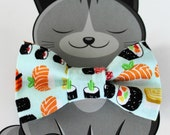 Sushi Bow Tie for Cat or Dog, Pet Clothing, Slide on Collar Accessory, Pet Bowtie, Handmade in Canada, Food, Fish