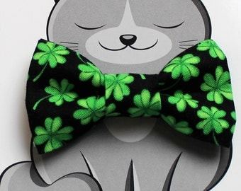Shamrock Bow Tie for Cat, Dog Bow Tie, Slide on Collar Accessory, Cat Costume, Pet Bowtie, Handmade in Canada, St. Patrick's Day, Green