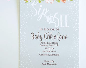 BABY SHOWER INVITATIONS - Neutral, Rustic, or Floral