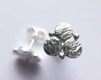 Circle earrings, silver earrings, ear studs, stud earrings, viking style, geometric, tribal, gypsy earrings, unique earrings, gift for her