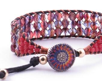 Beaded Cuff Bracelet Czech Beads On  Black Cotton