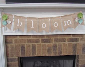 Spring Burlap Banner - Bloom, Succulents, Spring Burlap Pennant Decoration