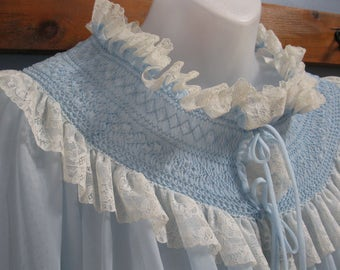 1950's Beautiful Blue Boudoir Bed Jacket Hand-Smocked Lace Trim