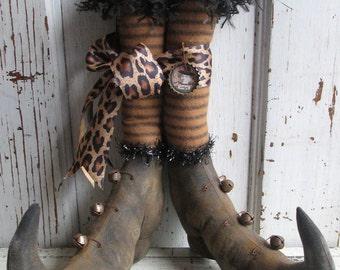 "Primitive Folk Art Witch Boots 12"" tall w/Striped Stockings~Shelf Sitters~Hafair Team"