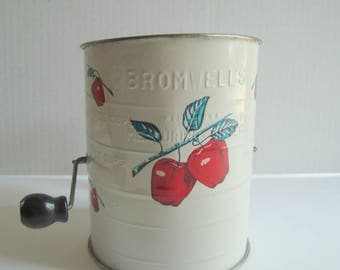 Bromwell's tin white with apples vintage sifter