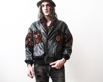 Vintage Black Leather Jacket Bomber 1980s Tapestry Hippie Boho Jacket Grunge Punk