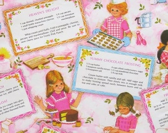 Vintage Gibson Juvenile Birthday Gift Wrap - Wrapping Paper - GIRLS BAKING with Recipes - 1960s
