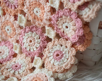 Crocheted Blanket, Cotton Blanket, White, Pink, Peach, Blanket, Shower Gift, Photo Prop