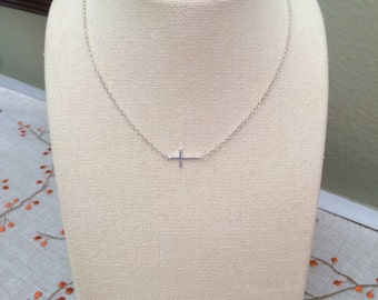 Sideways Cross Sterling Silver Minimalist Religious Necklace Dainty Simple Layering Teen Jewelry Bridesmaid Gift Flower Girl Gift