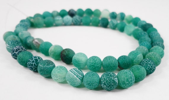 "Full Strand 6mm Green Agate Beads, 6mm Round Agate Gemstone Beads, Matte Agate Beads Frosted Agate Stone Beads on a 14"" Strand with 63 Beads"