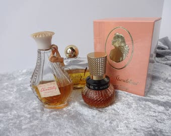70s Bathroom Props Avon Occur cologne Spray Chantilly Eau de Toilette and White Shoulders soap w Box all USED half full Props or personal
