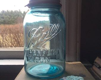 Vintage Turquoise Ball Jar 1910-1923 Blue Mason Jar