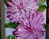 SALE Original Pink  Dahlia Flowers  Impasto Textured palette Knife  Acrylic Still Life  Small Painting.