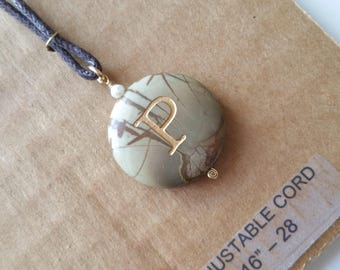 SALE Picasso jasper stone pendant with sandblasted initial P