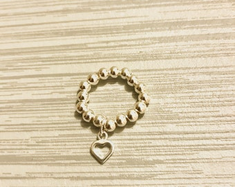 Sterling Silver Stack Ring - Mid Ring, Heart Ring, Open Heart Ring, Charm Ring, Sterling Silver, Bead Ring, Modern Ring, Stack Jewellery