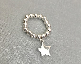 Sterling Silver Stack Ring - Stretch ring, Mid Ring, Star Ring, Solid Star Ring, Charm Ring, Sterling Silver, Bead Ring, Modern Ring, Stack