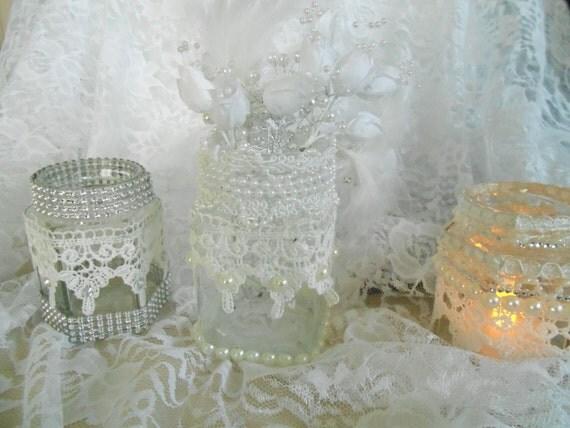 3 Glass Jars, LACE Jars, Table Decor, Hostess Gift, Wedding, Celebration Table, Bath Decor