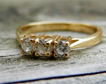 Diamond Wedding Band 14K Yellow Gold Diamond Anniversary Diamond Ring Three Stone Ring Past Present Future Engagement Ring