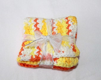 Crocheted Dish Cloths - Square Dish Coths - Cotton Wash Cloths - Shades of Orange/Yellow - Set of 2