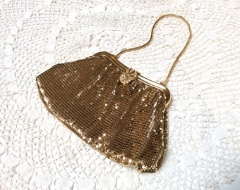 Vintage Whiting and Davis Gold Mesh Bag, Gold Evening Purse with Rhinestone Clasp, Mint Condition, 1950s