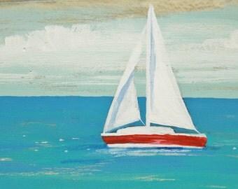 Free-Standing Driftwood Painting, Sailboat Art, Coastal Scene, Driftwood Art, Seascape, Beach and Lake House Decor, Art by Colleen Gimben