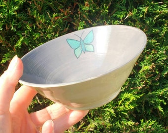 Grey Pottery Bowl - Butterfly - Earthenware Ceramics - Made in UK - Perfect Wedding Gift idea