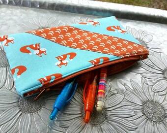 Zip Pouch, Foxy Clutch, Pencil Case, Makeup Bag