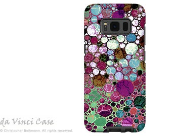 Samsung Galaxy S8 Case - Burgundy abstract dual layer Galaxy S 8 Case - Berry Bubbles -  Premium Dual Layer S8 Cover by Da Vinci Case