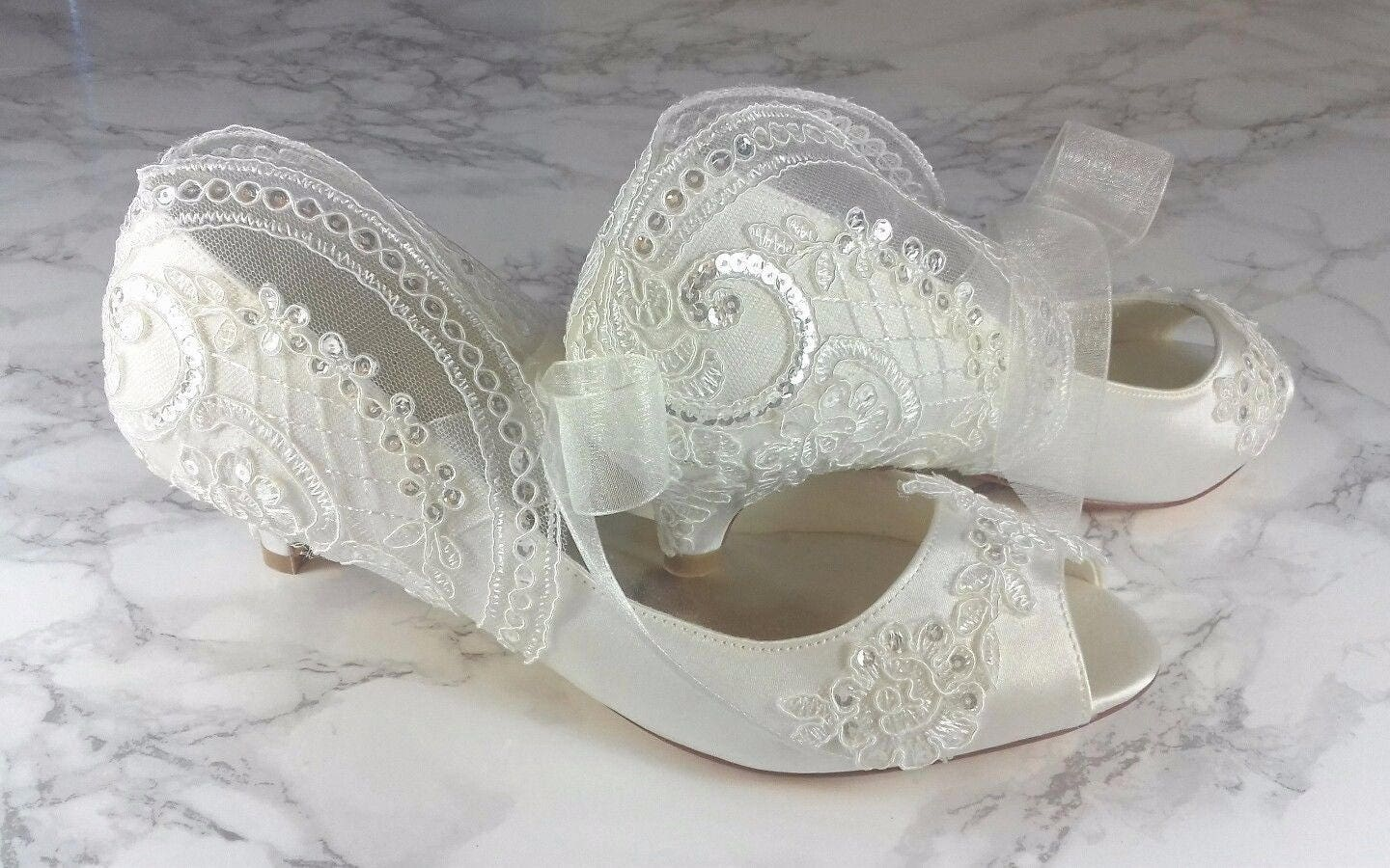 Ivory Vintage Lace Sequin Peep Toe Low Heel Shoes 1 Inch Mid ...