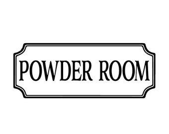 Powder Room Vinyl Decal, Bathroom Vinyl Decal,  Glass Door Decal, vinyl lettering, Rectangle Border Fame sign, Wall sticker HH2137