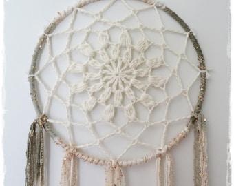 Dreamcatcher- Crochet Dreamcatcher- 10 inch Dreamcatcher - White-Cream-Ivory-Boho Home Decor