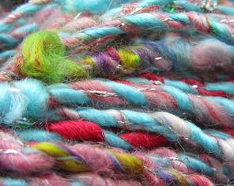 DAWN'S EARLY LIGHT yarn, priced per 10 yards, handspun, sequins, art yarn, thick/thin, super bulky, angelina fiber, sari silk, homespun
