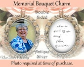 SALE! Double-Sided Handwriting Wedding Memorial Bouquet Charm - Personalized with Photo and your loved ones handwriting