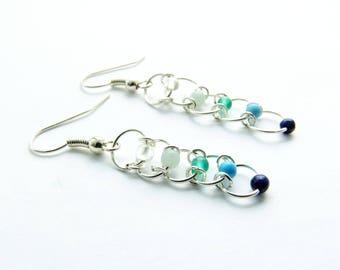 Blue Earrings, White Earrings, Turquoise Earrings, Gemstone Earrings, Ombre, Hippie Chic, Boho, Summer Jewelry, Silver Dangles, Gift, Hoops