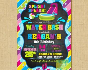 Water Slide Invitation, Water Bash Invitation, Splish Splash invitation, Water Slide Birthday Party, Pool Party Invitation, Water slide part