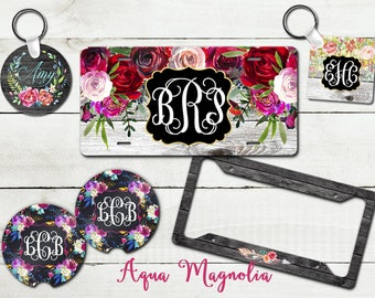 Personalized License Plate-Monogrammed Key Chain-Personalized Car Coasters-Monogrammed License Plate Frame-Customized Car Accessories