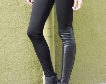 NEW COLLECTION Black Extra Long Leggings / Genuine Leather Side Panel  / High Quality Viscose Back and Front  by Aakasha